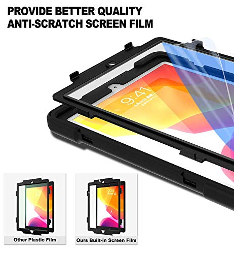ZenRich New iPad 8th/7th Generation Case iPad10.2 Case 2020/2019 with Screen Protector Kickstand Hand Strap and Shoulder Strap, zenrich Case for A2197/A2198/A2200/A2270/A2428/A2429/A2430, Black