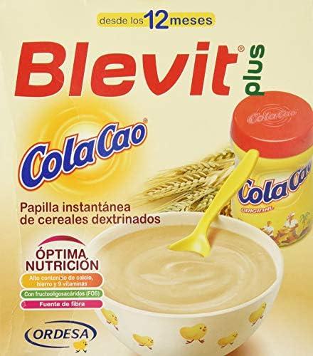 Blevit Plus Cola Cao, 1 unidad 600 gr. A partir de los 12 meses, contiene gluten.: Amazon.es: Alimentación y bebidas