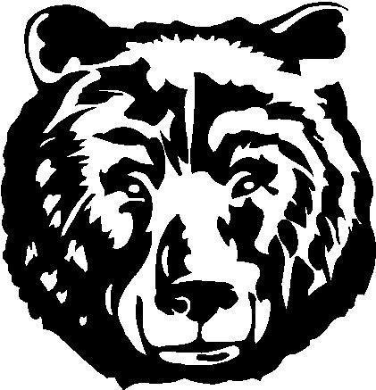 NI599 Grizzly Bear Face Decal | 5.5-Inches | Premium Quality Black Vinyl Decal (Bear Archery Decal)