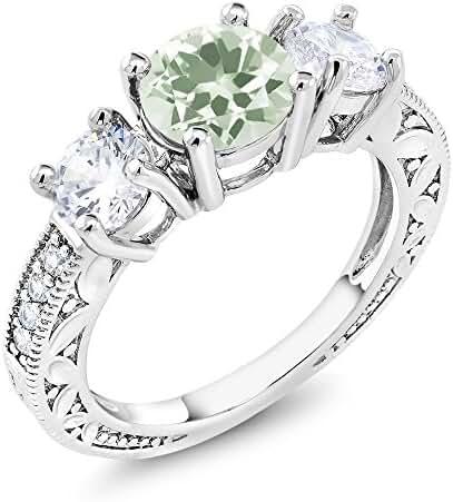 2.96 Ct Round Green Amethyst Rhodium Plated Ring