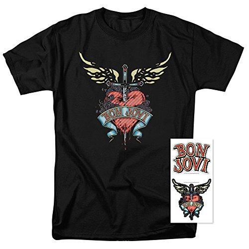 Bon Jovi Logo Heart and Dagger Band T Shirt