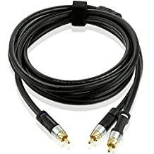 Mediabridge ULTRA Series RCA Y-Adapter (15 Feet) - 1-Male to 2-Male for Digital Audio or Subwoofer - Dual Shielded with RCA to RCA Gold-Plated Connectors - Black - (Part# CYA-1M2M-15B )
