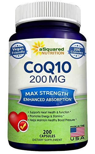 CoQ10 (200 Capsules and 200mg) - High Absorption Vegan CO Q-10 Enzyme Ubiquinone Supplement Pills, Extra Antioxidant Coenzyme Q10 Vitamin Tablets, Coq 10 for Healthy Blood Pressure & Heart Coenzyme Q10 Antioxidant Vitamins