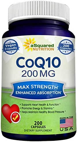 CoQ10 (200 Capsules and 200mg) - High Absorption Vegan CO Q-10 Enzyme Ubiquinone Supplement Pills, Extra Antioxidant Coenzyme Q10 Vitamin Tablets, Coq 10 for Healthy Blood Pressure & Heart