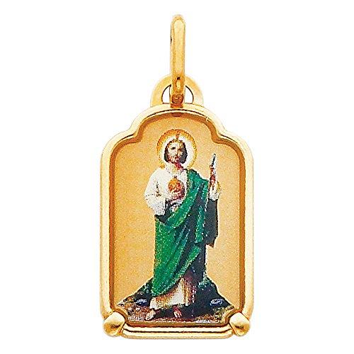 Enamel Religious Charm - 14k Yellow Gold Religious Saint Jude Enamel Picture Charm Pendant