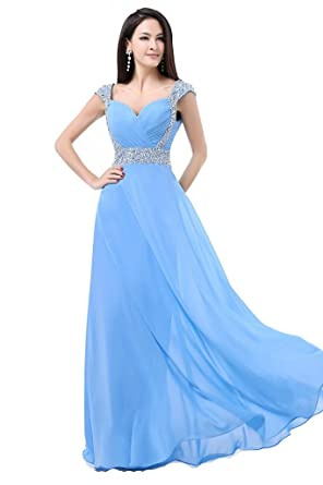 Charmanegl Womens Long Chiffon Bridesmaid Prom Dress Evening Gowns Size 16 Light Blue