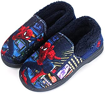 Joah Store Slippers for Boys Navy Red Warm Fur Clog Mule Spider-Man Indoor Shoes