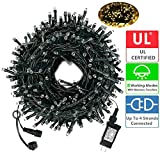 Diojilad LED Christmas String Lights Outdoor Tree Lights 105Ft 300LED UL Certified End-to-End Plug, 8 Modes Waterproof Outdoor Indoor Fairy Lights for Christmas Tree, Patio, Wedding, Party(Warm White)