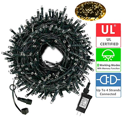 Diojilad LED Christmas String Lights Outdoor Tree Lights 105Ft 300LED UL Certified End-to-End Plug, 8 Modes Waterproof Outdoor Indoor Fairy Lights for Christmas Tree, Patio, Wedding, Party(Warm White) (Best Way To Store Christmas Tree Lights)