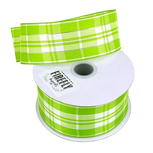 Homeford Firefly Imports Plaid Checkered Wired Christmas Ribbon, 1-1/2-Inch, 10 Yards, Mint Green, 1.5