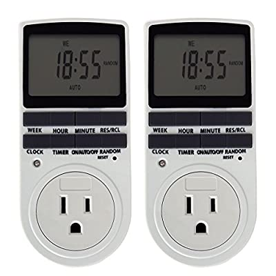 ETvalley 7-Day Programmable Plug-in Digital Electric Timer Switch with 3-Prong Outlet, Pack of 2, White