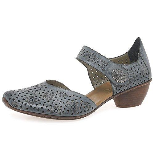 Rieker Women's, Mirjam Slip-on Low Heel Shoe Denim Blue 4.1 -