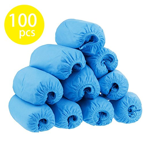 Titan Mall Disposable Boot & Shoe Covers Non Skid Shoe Covers Blue Water Resistant One Size Fits Most 100 pcs (Shoe Covers Skid)