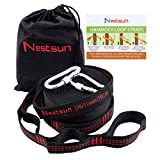Nestsun Hammock Straps, Hammock Tree Straps Set Hammock Accessories Outdoor Gear Adjustable Suspension System 1400LB Heavy Duty with 42 Loops, 2 Carabiners for Camping, Hiking and outdoor activies