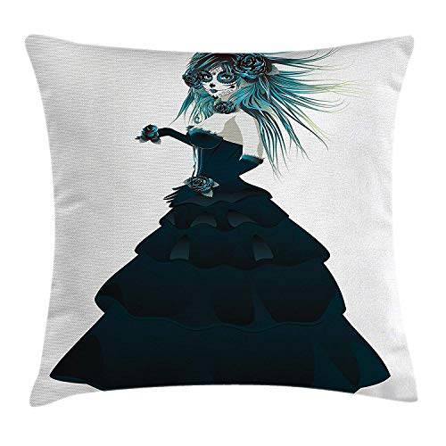 Girls Throw Pillow Cushion Cover, Sugar Skull Girl with Prom Dress Roses in Hand Gothic Halloween Lady Zombie Vampire, Decorative Square Accent Pillow Case, 18 X 18 inches, Teal White