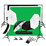 Julius Studio Photo Video Studio Photography Backdrop Support System Umbrellas Lighting Kit with 6 x 9 ft. Background Muslin, Backdrop Holder and Clamp, JSAG351