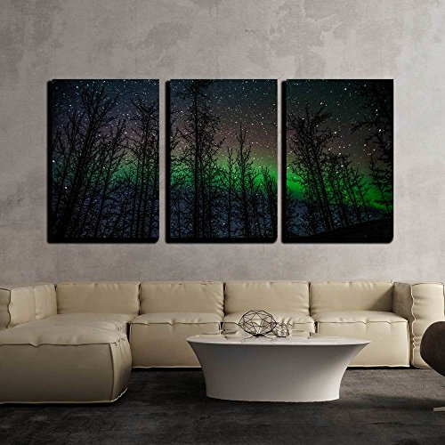 wall26 - 3 Piece Canvas Wall Art - Northern Lights Aurora Borealis - Modern Home Decor Stretched and Framed Ready to Hang - 24
