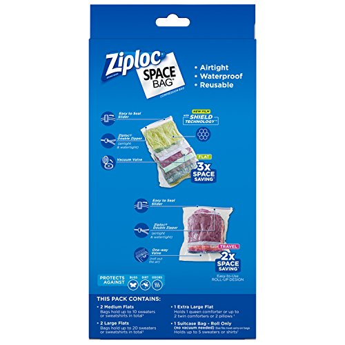 Ziploc Flat Space Bags, For Travel, Organization and Storage, Reusable, Waterproof Bag, Pack of 6 (2 M, 2 L, 1 XL, 1 Suitcase)
