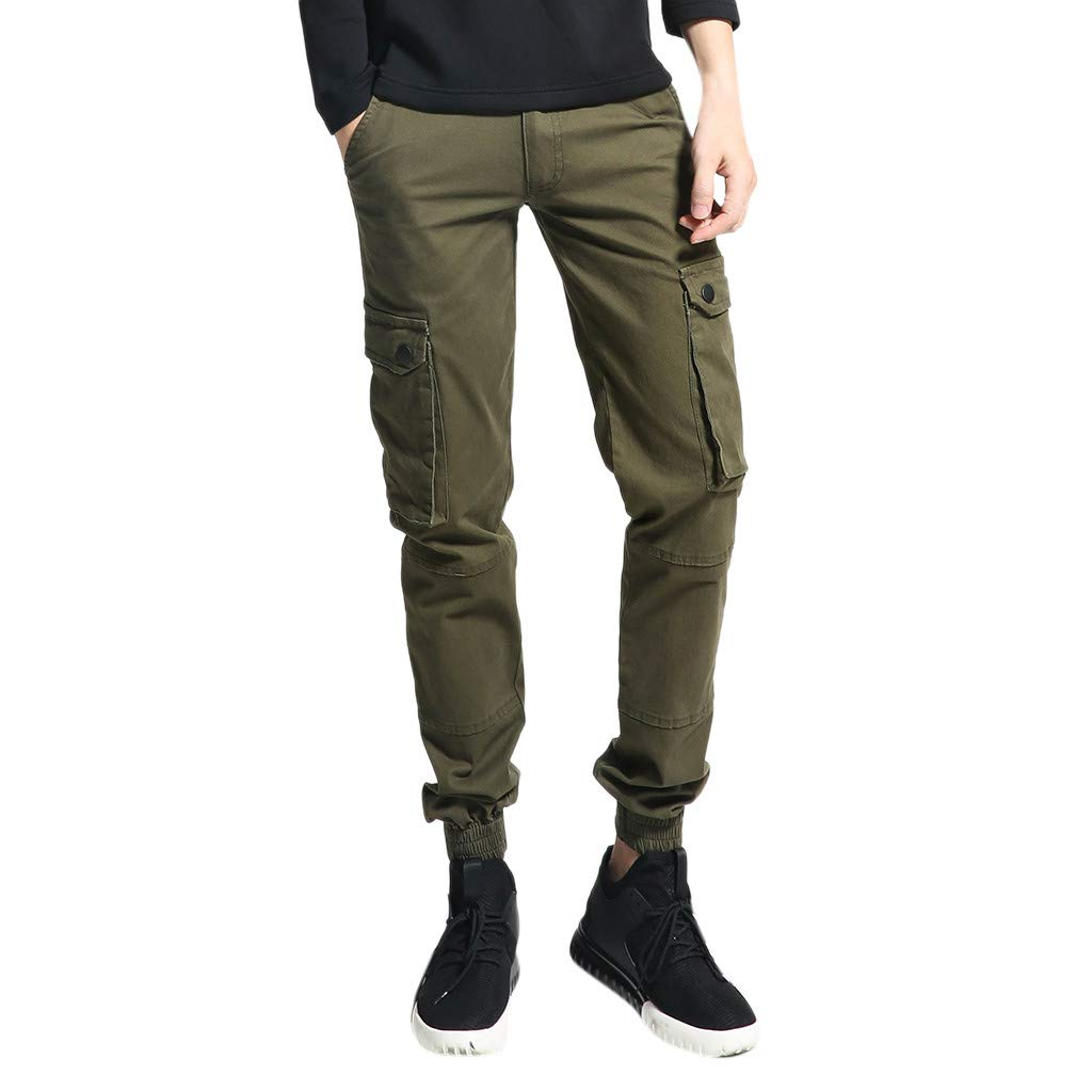 Men's Sport Pants Casual Classic Fit Short Summer Beach Pant with Multi-Pocket Overalls Army Green by Cianjue_Dress
