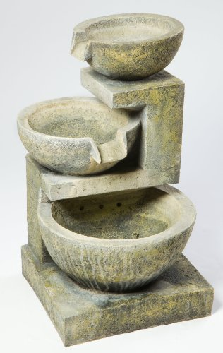 Alfresco Home Rocca Resin Fountain, Brown - Includes lightweight pump and led light All finishes are hand applied surface patinas, so there will be color variations All resin fountains must be brought inside a sheltered area during the cold winter months to protect them from the effects of freeze-thaw conditions - patio, fountains, outdoor-decor - 519hl4XPZrL -