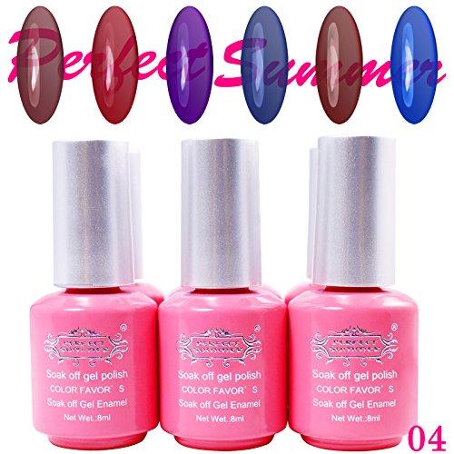 Prefect Summer 6pcs 10ml Nail Art Soak Off UV Gel Glass Poli