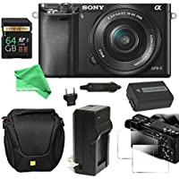 Sony Alpha a6000 ULTIMATE PRO Bundle Mirrorless Digital Camera 24.3 MP SLR Camera with 3.0-Inch LCD - Sony 16-50mm Power Zoom Lens + Power Battery + Charger + Case + 64GB SD - DigitalAndMore Bundle