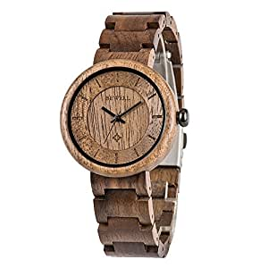 BeWell Dress Watch For Unisex Analog Wood - ZS-W155A