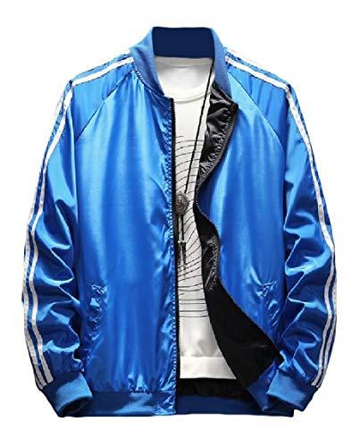 Mogogo Men's Zipper Raglan Long-Sleeve Stand Collar Tops Outwear Jackets Blue