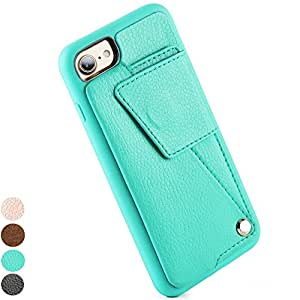 iPhone 7 Wallet Case, iPhone 8 Card Case, ZVE Apple 7 / 8 Leather cover Shockproof case with Credit Card Slot Holder, Durable Protective case for Apple iPhone 7 (2016) / iPhone 8 (2017) -Mint Green