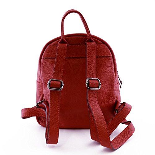 Zaino Donna In Vera Pelle Con Tasca Frontale Colore Rosso - Pelletteria Toscana Made In Italy - Zaino