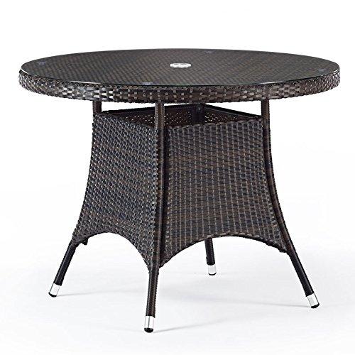 Round Rattan Garden Table With Glass Top - 1 Metre Diameter - Circular Outdoor Table