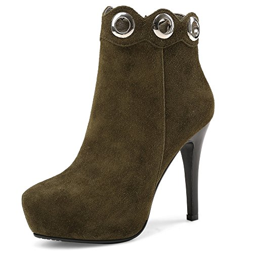 Heel Leather Ankle Nine Booties Eleagnt Toe Green Handmade Army Suede Women's Seven Stiletto Pointed qw6gF0