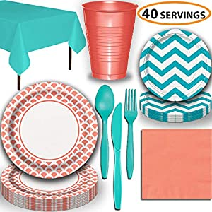 Disposable Tableware, 40 Sets - Coral and Caribbean Teal - Scallop Dinner Plates, Chevron Dessert Plates, Cups, Lunch Napkins, Cutlery, and Tablecloths: Premium Quality Party Supplies Set