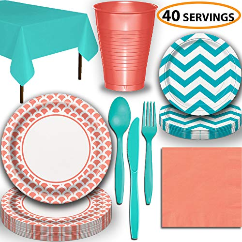 Coral Party Plates Disposable Party Supplies For 28