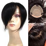 Remeehi 6''x6'' Silk Base Human Hair Top Piece Clip in Human Hair Topper (12inch Jet Black)