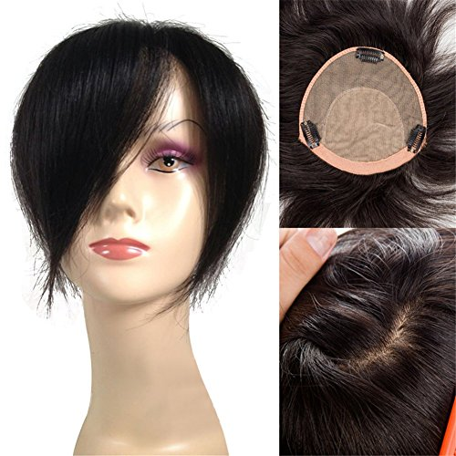 Remeehi 6''x6'' Silk Base Human Hair Top Piece Clip in Human Hair Topper (12inch Jet Black) by Remeehi