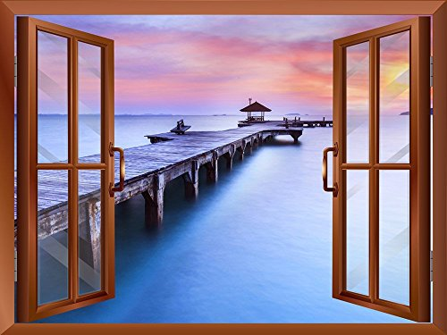 Calm Wood Pier at Sunset View from inside a Window Removable Wall Sticker Wall Mural