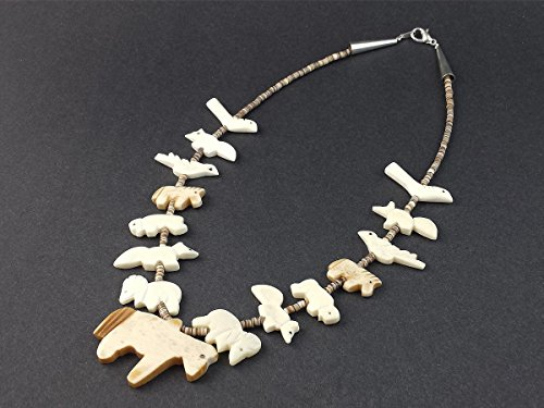 Hand Carved All Bone Single Strand Horse with Mixed Animals Fetish Choker Necklace