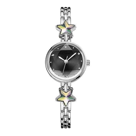 Kanpola Reloj de Pulsera de Acero con Diamantes de imitación con Cuarzo en Relieve de Temperamento de Moda.: Amazon.es: Relojes