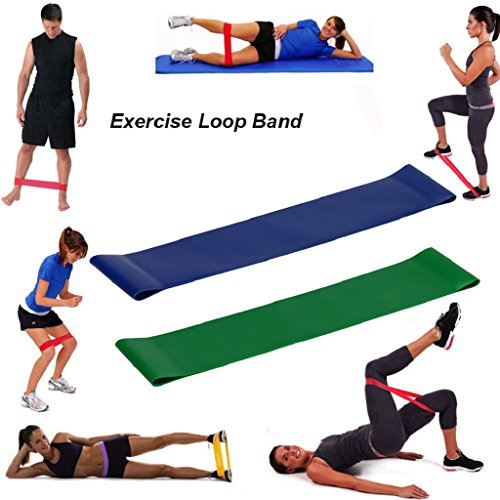 Ecosin Resistance Bands Fitness Set of 2 Stretch Belt Resistance Band Loop Yoga Pilates Home GYM Fitness Exercise Workout Training Natural Latex 2PCS (B)