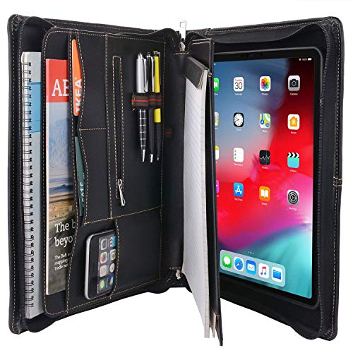 Zipper Leather Portfolio with Removable Tablet Holder, Organizer Tablet Portfolio Case Compatible for iPad 9.7-inch