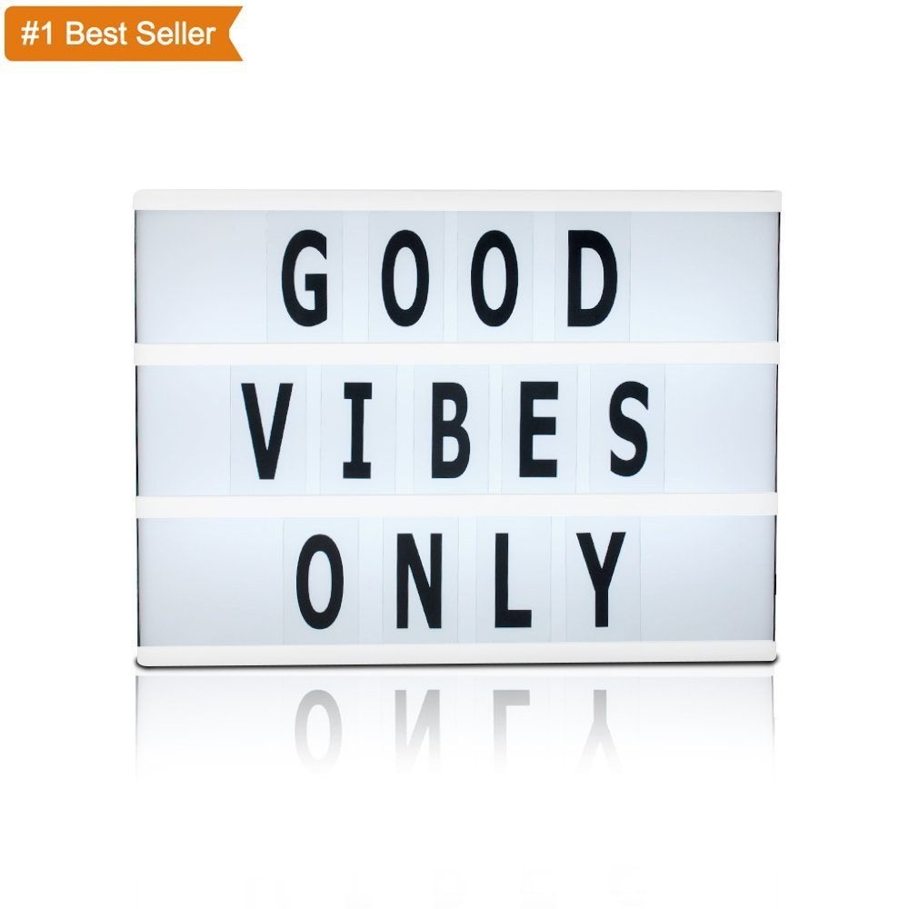 A4 Size Cinema Light Box with Letters - Vintage Cinematic Light Up Message and Note Sign with 60 Letters– Personalized White LED Lightbox Battery Powered 11.8 x 8 x 2