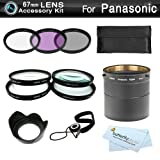 67mm Filter Kit Bundle For Panasonic Lumix DMC-FZ200, DMC-FZ200K Digital Camera Includes NecessaryTube Adapter + Multi-Coated 3 PC Filter Kit (UV, CPL, FLD) + Close Up Kit +1 +2 +4 +10 + Lens Hood + Lens Cap Keeper + MicroFiber Cleaning Cloth
