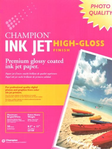 Champion Ink Jet High Gloss Finish Photo Paper 93 Brightness Heavy Weight 50 ()