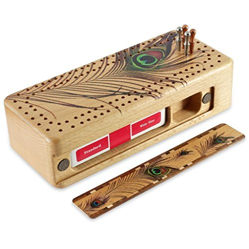 Peacock Feather Wooden Cribbage Board with quality metal pegs and deck of cards by Mitercraft