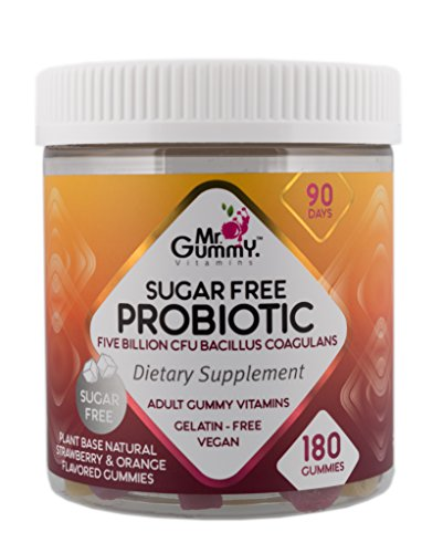 Mr Gummy Vitamins Probiotic Sugar Free Supplement | 5 Billion CFU of Bacilus Coagulans | Support The Health of Your Digestive System | [180 Gummies, 90-Day Supply] | for Men and Women