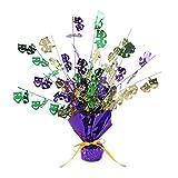 Beistle 50805 Mardi Gras Gleam 'N Burst Centerpiece, 15-Inch