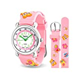 Bling Jewelry Pink Girls Butterfly Flower Kids Watch Stainless Steel Back
