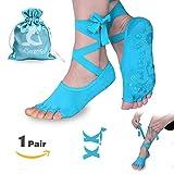 Muezna Anti-Skid Yoga Socks for Women with Strap, Toeless Non Slip Grip Pilates, Barre Ballet Bikram Workout Socks with Cotton For Sale