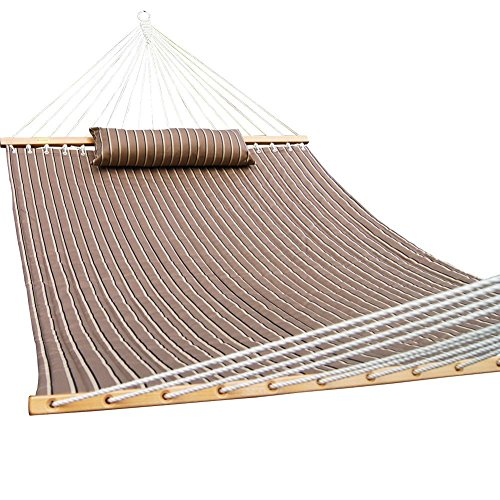PG PRIME GARDEN Double Hammock with Pillow, Hardwood Spreader Bars, 2 Person Swing Bed, Tan Stripes